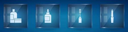 Set Cream or lotion cosmetic tube, , Mascara brush and Nail file. Square glass panels. Vector Ilustração