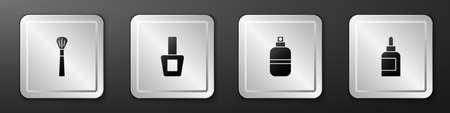 Set Makeup brush, Nail polish bottle, Perfume and Cream or lotion cosmetic tube icon. Silver square button. Vector Ilustração
