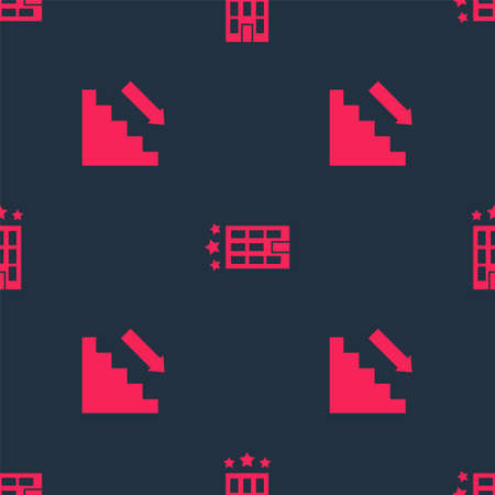 Set Stairs up and Hotel building on seamless pattern. Vector Ilustração