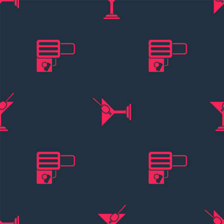 Set Suitcase and Martini glass on seamless pattern. Vector