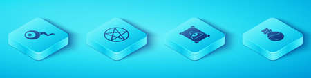 Set Isometric Eye, Pentagram in a circle, Bottle with potion and Ancient magic book icon. Vector
