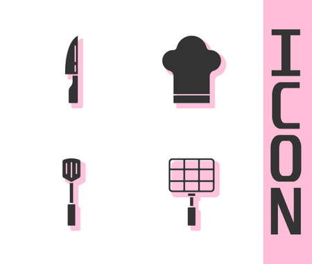 Set Barbecue steel grid, knife, spatula and Chef hat icon. Vector