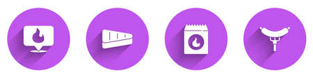 Set Location with fire flame, Steak meat, Barbecue coal bag and Sausage the fork icon with long shadow. Vector