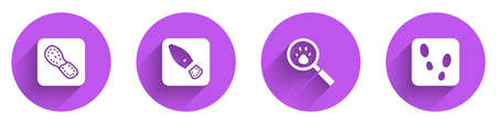 Set Human footprints shoes and Paw search icon with long shadow. Vector