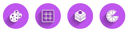 Set Cookie or biscuit, Waffle, Brownie chocolate cake and Homemade pie icon with long shadow. Vector Ilustração