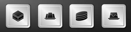 Set Brownie chocolate cake, Jelly, and Pudding custard icon. Silver square button. Vector