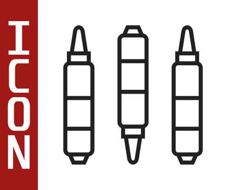 Black line Marker pen icon isolated on white background. Felt-tip pen. Vector