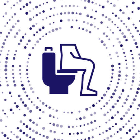 Blue Men sitting on the toilet and Constipation are experiencing severe abdominal pain icon isolated on white background. Abstract circle random dots. Vector