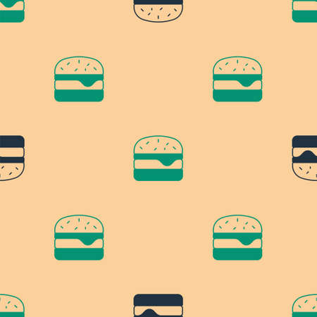 Green and black Burger icon isolated seamless pattern on beige background. Hamburger icon. Cheeseburger sandwich sign. Fast food menu. Vector
