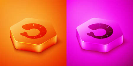 Isometric Shrimp icon isolated on orange and pink background. Hexagon button. Vector