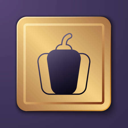 Purple Bell pepper or sweet capsicum icon isolated on purple background. Gold square button. Vector