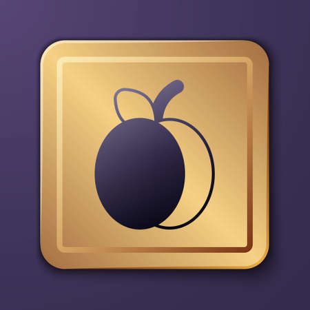 Purple Plum fruit icon isolated on purple background. Gold square button. Vector