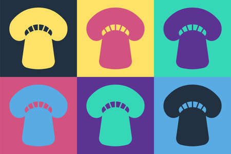 Pop art Mushroom icon isolated on color background. Vector
