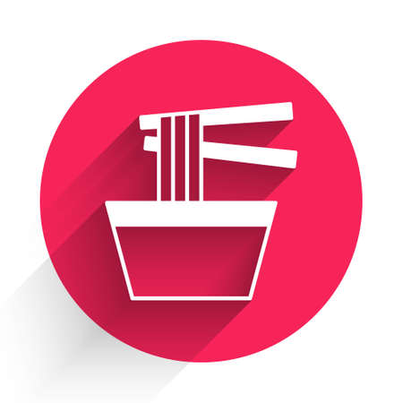 White Asian noodles in bowl and chopsticks icon isolated with long shadow background. Street fast food. Korean, Japanese, Chinese food. Red circle button. Vector