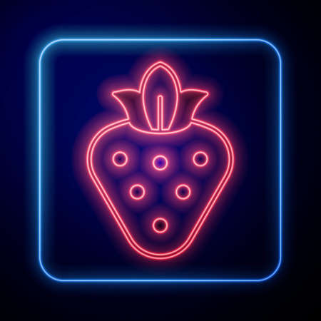 Glowing neon Strawberry icon isolated on black background. Vector