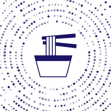 Blue Asian noodles in bowl and chopsticks icon isolated on white background. Street fast food. Korean, Japanese, Chinese food. Abstract circle random dots. Vector Vectores
