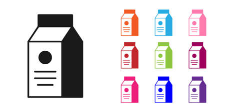 Black Paper package for milk icon isolated on white background. Milk packet sign. Set icons colorful. Vector Vectores