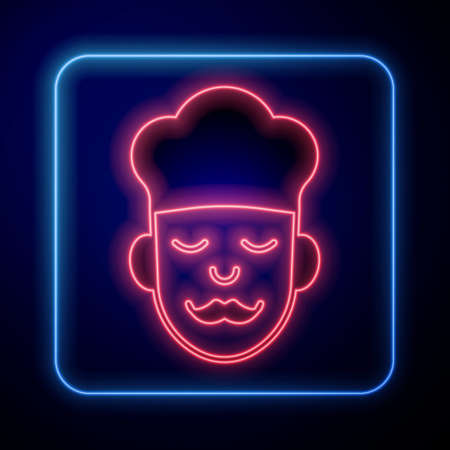 Glowing neon Cook icon isolated on black background. Chef symbol. Vector
