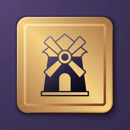 Purple Windmill icon isolated on purple background. Gold square button. Vector