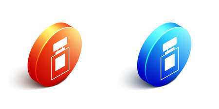 Isometric Perfume icon isolated on white background. Orange and blue circle button. Vector