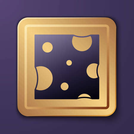 Purple Cheese icon isolated on purple background. Gold square button. Vector