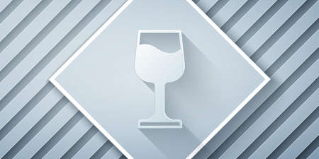 Paper cut Wine glass icon isolated on grey background. Wineglass sign. Paper art style. Vector