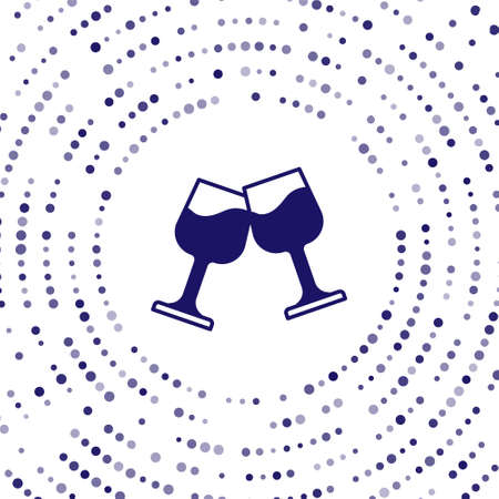 Blue Wine glass icon isolated on white background. Wineglass sign. Abstract circle random dots. Vector Vectores