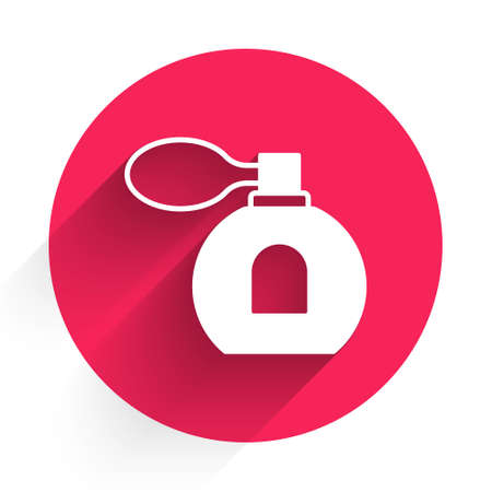 White Perfume icon isolated with long shadow background. Red circle button. Vector