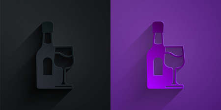 Paper cut Wine bottle with glass icon isolated on black on purple background. Paper art style. Vector