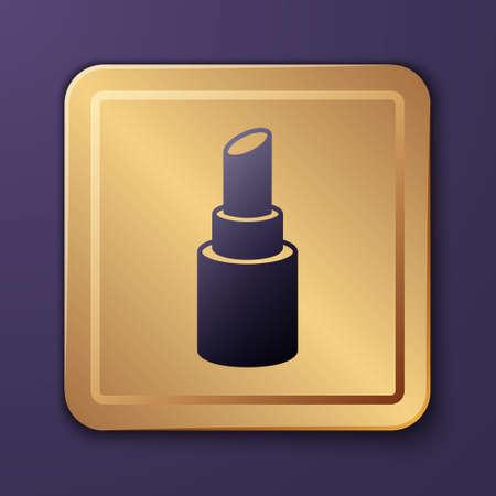 Purple Lipstick icon isolated on purple background. Gold square button. Vector