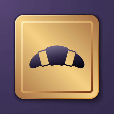 Purple Croissant icon isolated on purple background. Gold square button. Vector Vectores