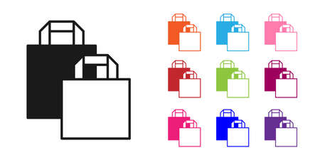Black Paper shopping bag icon isolated on white background. Package sign. Set icons colorful. Vector