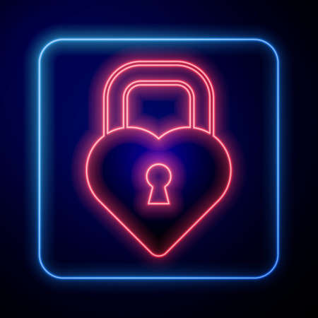 Glowing neon padlock in the shape of a heart icon isolated on black background. Locked Heart. Love symbol and keyhole sign. Vector Vectores