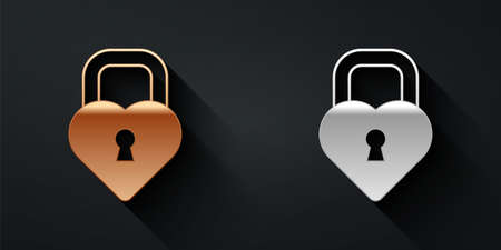 Gold and silver padlock in the shape of a heart icon isolated on black background. Locked Heart. Love symbol and keyhole sign. Long shadow style. Vector