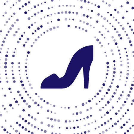 Blue Woman shoe with high heel icon isolated on white background. Abstract circle random dots. Vector Vectores