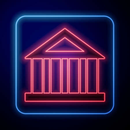 Glowing neon Bank building icon isolated on black background. Vector