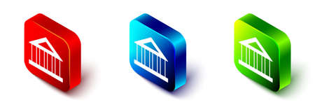Isometric Bank building icon isolated on white background. Red, blue and green square button. Vector