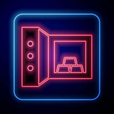 Glowing neon Safe with gold bars icon isolated on black background. Precious metals on deposit in bank. Metallic treasury. Reliable data protection. Vector