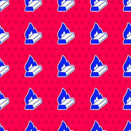 Blue gold being poured icon isolated seamless pattern on red background. Metal poured from ladle. Vector