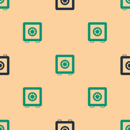 Green and black Safe icon isolated seamless pattern on beige background. The door safe a bank vault with a combination lock. Reliable Data Protection. Vector Vectores