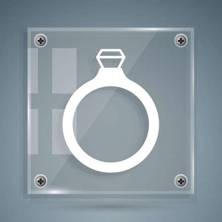 White Diamond engagement ring icon isolated on grey background. Square glass panels. Vector