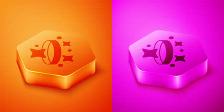 Isometric Diamond engagement ring icon isolated on orange and pink background. Hexagon button. Vector