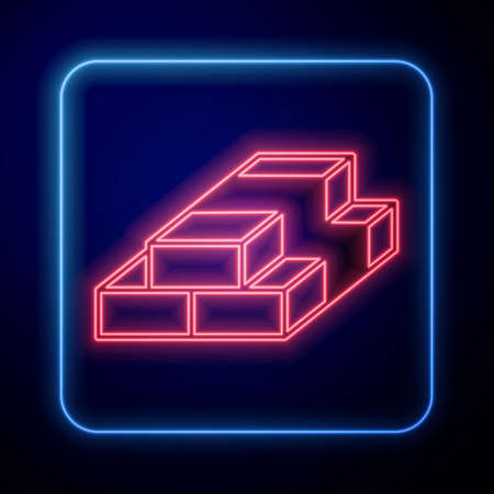Glowing neon Stacks paper money cash icon isolated on black background. Money banknotes stacks. Bill currency. Vector