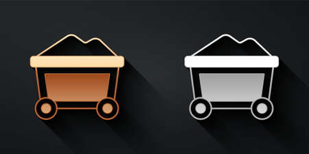 Gold and silver Mine cart with gold icon isolated on black background. Long shadow style. Vector