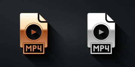 Gold and silver MP4 file document. Download mp4 button icon isolated on black background. MP4 file symbol. Long shadow style. Vector