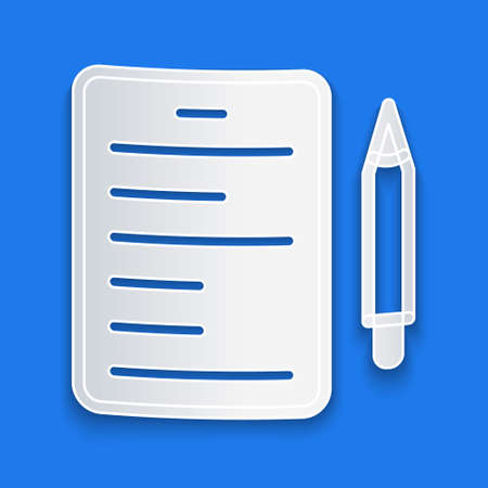 Paper cut Scenario icon isolated on blue background. Script reading concept for art project, films, theaters. Paper art style. Vector