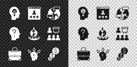 Set Human with lamp bulb, Customer product rating, Worldwide, Briefcase, Project team base, Financial growth and dollar, Head question mark and expansion icon. Vector