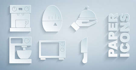Set Microwave oven, Covered with tray, Electric mixer, Knife, Kitchen timer and Coffee machine icon. Vector