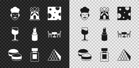 Set Cook, Windmill, Cheese, Macaron cookie, Perfume, Louvre glass pyramid, Wine and Lipstick icon. Vector Vektorgrafik