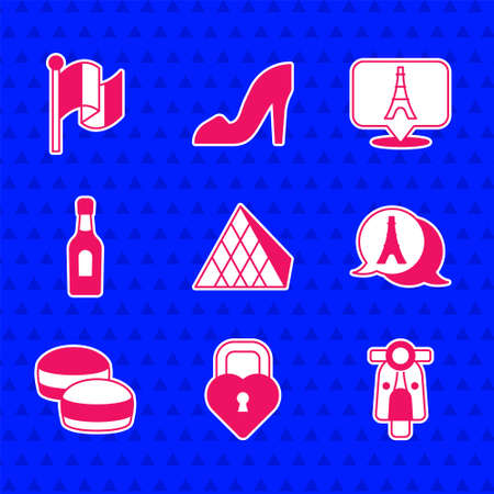 Set Louvre glass pyramid, Castle in the shape of heart, Scooter, Eiffel tower, Macaron cookie, Champagne bottle, and Flag France icon. Vector